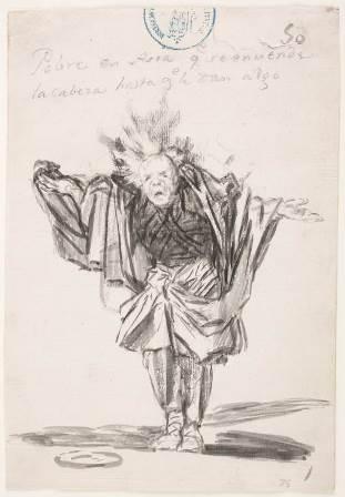 Dibujo de Goya, titulado Pobre en Asia, probablemente inspirado en el grabado de  un fakir