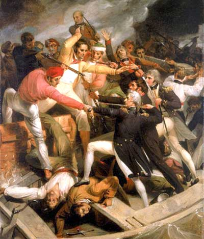 Richard Westall.: Escena de batalla, entre ingleses y españoles.