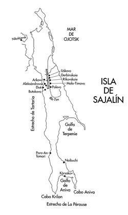 Mapa de la isla de Sajalín
