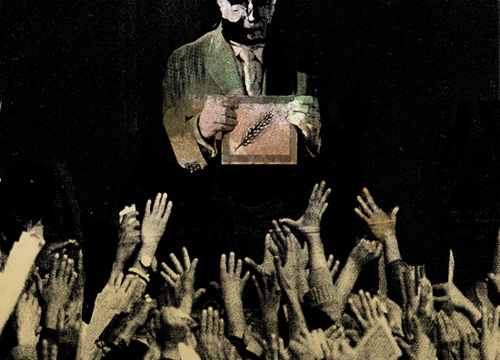 Ilustración en blanco y negro de un hombre mostrando un cuadro de una espiga y delante de él muchas manos alzadas