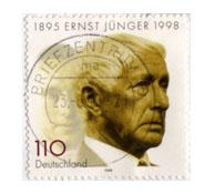 Sello conmemorativo de 1998 con el rostro de Ernst Jünger