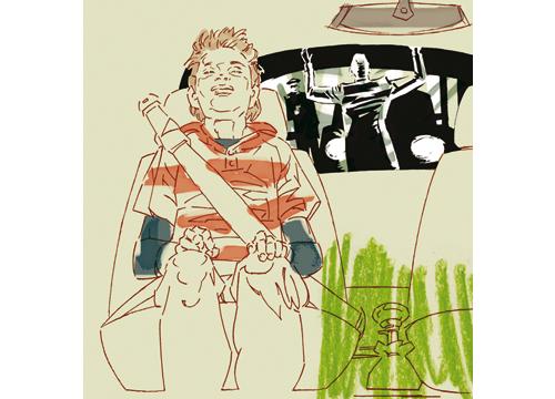 Ilustración en la que se ve un chico joven sentado en el asiento de un coche con el cinturón puesto