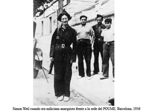 Imagen de 1936 de Simone Weil cuando era miliciana anarquista frente a la sede del POUM en Barcelona