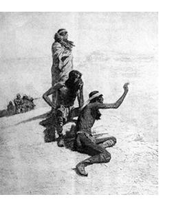 Imagen en blanco y negro de tres indios en el desierto