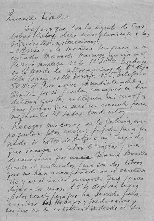 Carta del preso de la cárcel de Porlier antes de ser fusilado