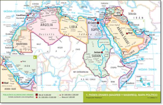 Mapa político de los países arabes