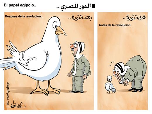 Viñeta cómica en relación a el papel egipcio en la revolución.