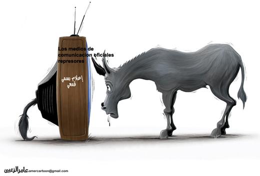 Viñeta Los medios de comunicación oficiales represores