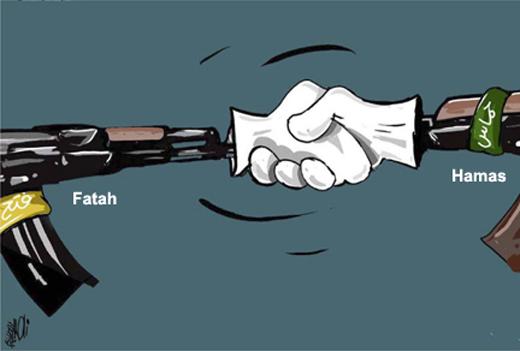 Viñeta en la que una mano de Fatah estrecha la mano de Hamas