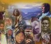 Pintura con caras indígenas