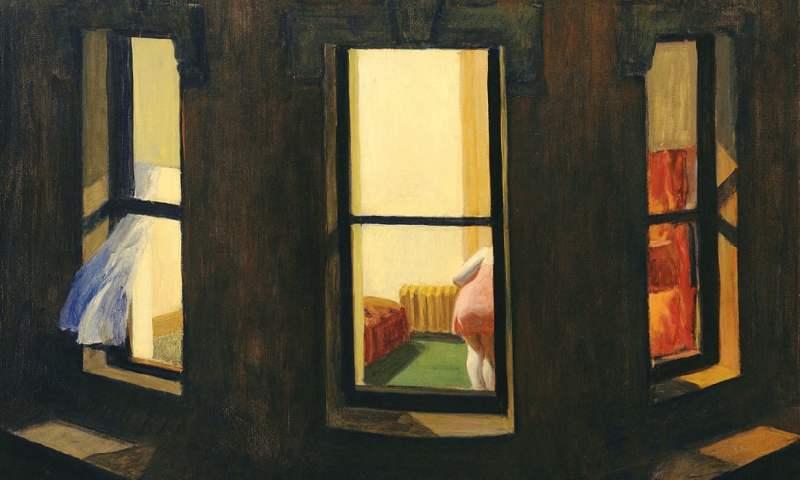 Ventanas en la noche (1928), de Edward Hopper.