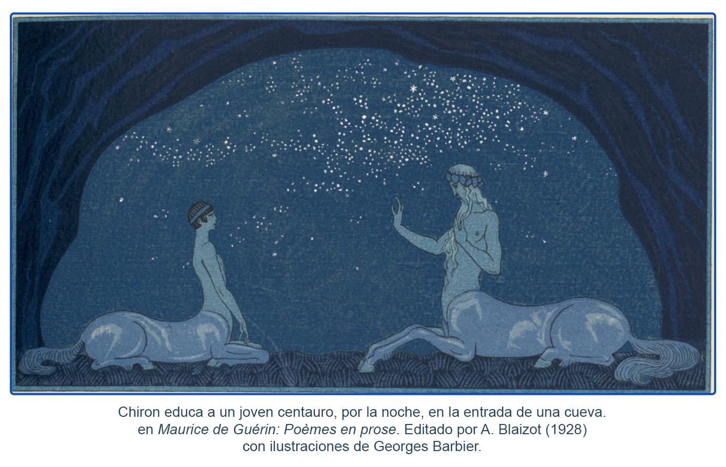 Chiron y un joven centauro_ilustración de Georges Barbier (1928)